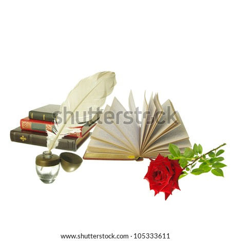 Attributes of Arts. Poetry. Books,  ink-pot and plume, red rose. White background. Your text - stock photo