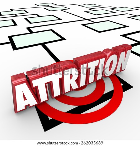 Attrition word on an organization chart with red 3d letters to illustrate firing or laying off worker or staff to reduce operating costs for a company or business - stock photo