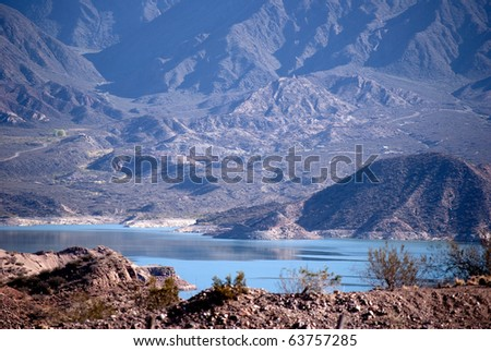 Atuel river in the Andes Mountains, Mendoza, Argentina - stock photo