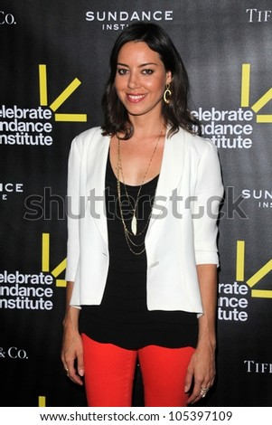 Aubrey Plaza at the Sundance Institute Benefit Presented by Tiffany & Co., Soho House, Los Angeles, CA 06-06-12 - stock photo