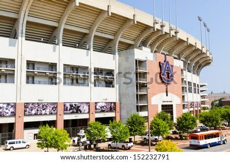 AUBURN, AL- AUG. 29: Facade of Jordan Hare stadium on the campus of Auburn University in Auburn, Alabama, on Aug. 29, 2013. The stadium is the home field for the 2010 NCAA Champion Auburn Tigers. - stock photo