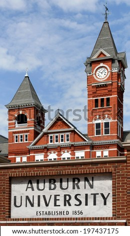 AUBURN, AL - JUNE 17: Auburn University located in Auburn, Alabama on June 17, 2012. Auburn University is a public research university founded in 1856. - stock photo