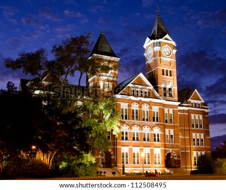 AUBURN, AL- SEPT. 10: Facade of Samford Hall at night on the campus of Auburn University in Auburn, Alabama, on Sept. 10, 2012. The building is an icon for the school with more than 25,000 students. - stock photo