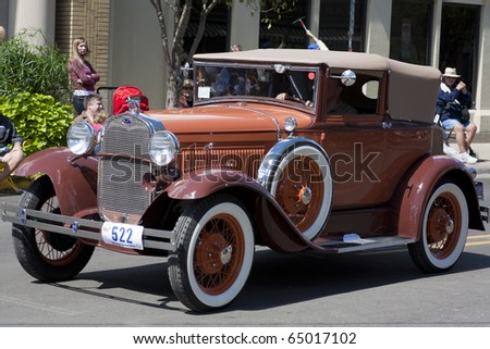 AUBURN, IN - SEPTEMBER 4: Ford at the Annual Classic car parade on September 4, 2010 in Auburn, Indiana - stock photo