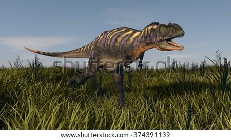 aucasaurus in grassland - stock photo