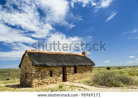 Auchterlonie Museum is an old fieldstone farmhouse in the Kgalagadi transfrontier pork - stock photo