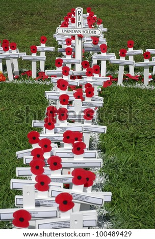 AUCKLAND - APRIL 25: White wooden crosses outside Auckland's War Memorial Museum commemorate the war dead, following an Anzac Day remembrance service on April 25, 2007 in Auckland, New Zealand. - stock photo