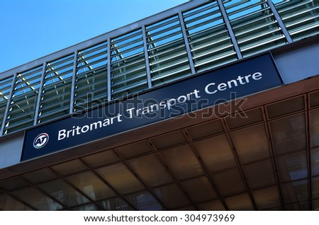 AUCKLAND - AUG 10 2015:Britomart Train Station sign in Auckland New Zealand.It's the CBD public transport hub of Auckland, New Zealand, and the northern terminus of the North Island Main Trunk line.