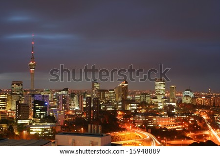 Auckland by night - stock photo