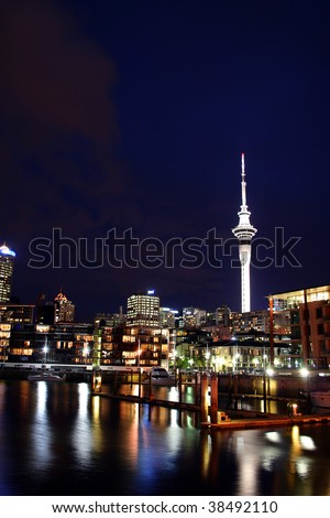 Auckland City and Skytower at Night, New Zealand - stock photo