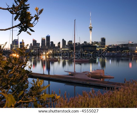 Auckland City at dawn - stock photo