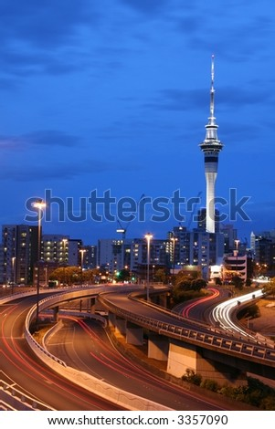 Auckland City At Dusk, New Zealand