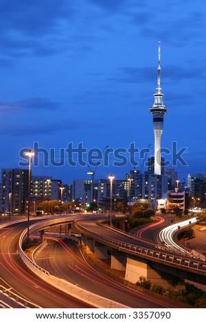 Auckland City At Dusk, New Zealand - stock photo
