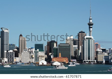 Auckland City CBD, Sky Tower & Waterfront - stock photo