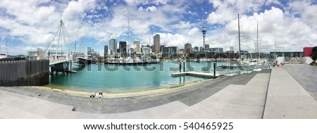 Auckland city center panorama, with Viaduct basin with in the foreground, New Zealand.