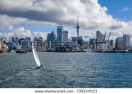 Auckland city center view from the sea and sailing ship, New Zealand