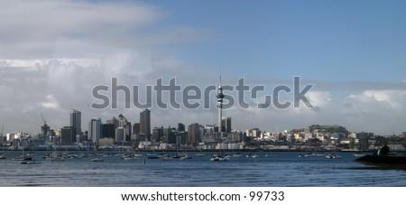Auckland City from Harbour Bridge - stock photo