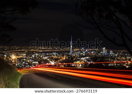 Auckland City from Mt Eden - stock photo