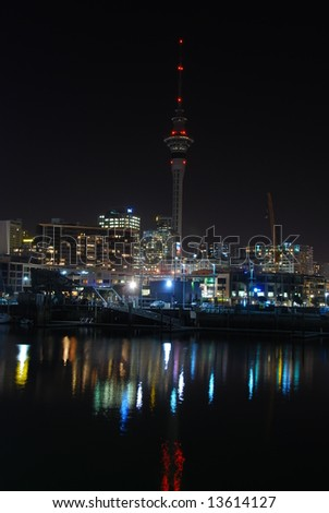 Auckland city in a calm night, New Zealand - stock photo