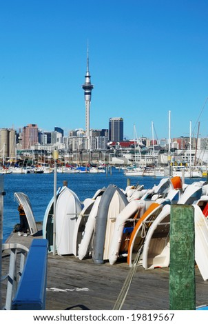 Auckland city on background of blue sky - stock photo