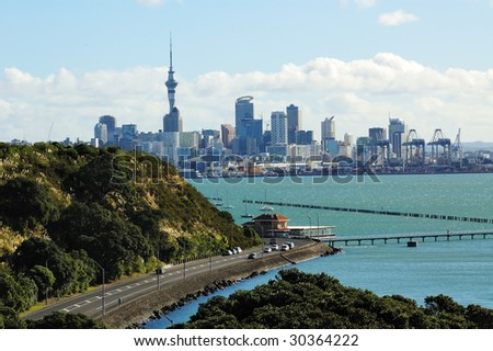 Auckland city panorama with road and yachts. New Zealand - stock photo