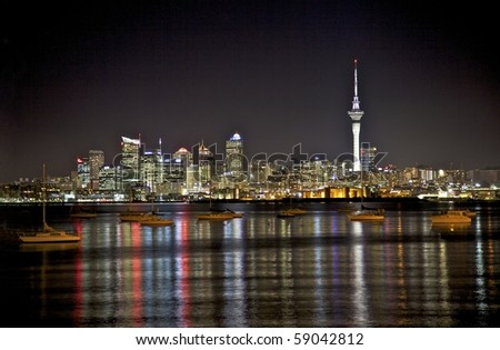 Auckland City skyline at night. - stock photo