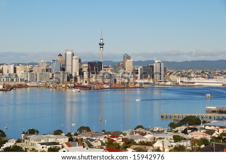 Auckland city skyline in sunrise light - stock photo