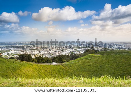 Auckland city view from Eden Mountain - stock photo
