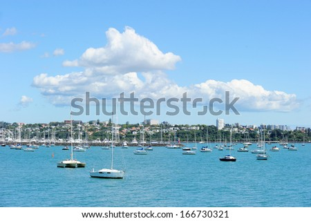 Auckland city viewed from the harbour, New Zealand - stock photo