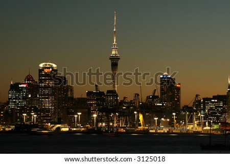 Auckland cityscape on a clear summer night