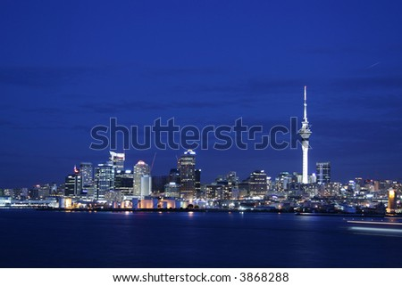 Auckland cityscape on a clear summer night - stock photo