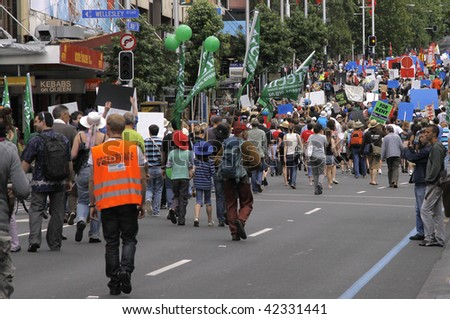 AUCKLAND - DECEMBER 5: Green Peace Climate Change campaign protest march on the street December 5, 2009 in Auckland.