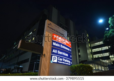 AUCKLAND - FEB 20 2016:Auckland City Hospital at night.It's one of the largest hospitals in New Zealand, as well as one of the oldest medical facilities of the country. - stock photo