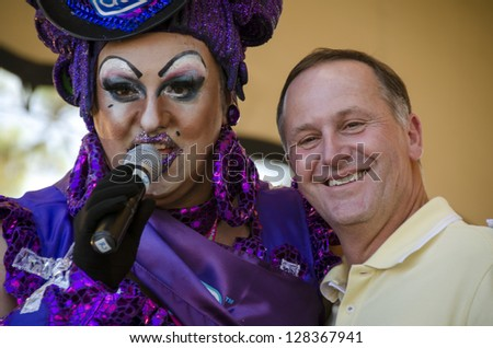 AUCKLAND - FEBRUARY 10: New Zealand Prime Minister John Key was a special guest at the Big Gay Out Festival, celebrating gay pride, on February 10, 2013 in Auckland, New Zealand. - stock photo