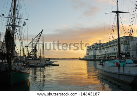 Auckland Harbor at dawn - stock photo