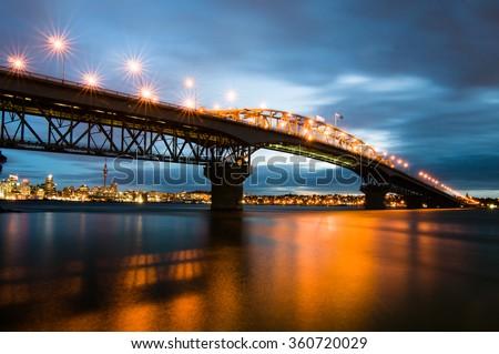 Auckland Harbor Bridge blue hour - stock photo