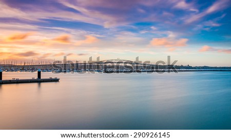 Auckland Harbour Bridge at Sunset - stock photo