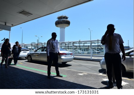 AUCKLAND - JAN 18:Auckland Airport taxi drivers on Jan 18 2014.On Dec 09 2013 more than 150 taxi drivers have started a hunger strike in a protest over working conditions at Auckland Airport. - stock photo