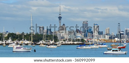 AUCKLAND - JAN 11 2016:Panoramic view of Auckland city skyline.One of Auckland's nicknames is the City of Sails from the popularity of sailing in the region as 1 in 3 Auckland households owning a boat - stock photo