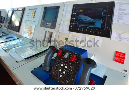 AUCKLAND - JAN 30 2016:Surveillance camera monitor on patrol boat. It's commonly engaged in border protection roles as: anti-smuggling, anti-piracy, fisheries patrols, and immigration law enforcement. - stock photo