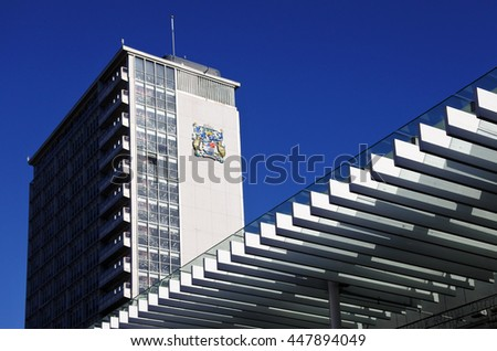 AUCKLAND - JULY 02 2016:The Civic Building, 19 storey steel-frame building designed in mid-1950s and opened in 1966. It was New Zealand's tallest building and built from special technology at the time - stock photo