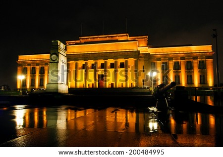 AUCKLAND -JUNE 09 2014:Auckland War Memorial Museum at night.It's one of New Zealand's most important museums and war memorials. Its collections concentrate on New Zealand history.