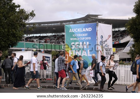 AUCKLAND-Mar.24: Cricket fans at ICC Cricket World Cup 2015 at Eden Park Rugby Stadium for Semi Final game between New Zealand and South Africa in Auckland, New Zealand on Tuesday, March 24, 2015.  - stock photo