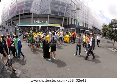 AUCKLAND-Mar.7: Cricket fans at the venue of ICC Cricket World Cup 2015 at Eden Park to watch Group A ODI match between South Africa and Pakistan in Auckland, New Zealand on Saturday, March 7, 2015  - stock photo