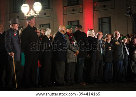 Auckland, New Zealand - April 25, 2015 : Remembrance Day, known as ANZAC Day in New Zealand, featured a dawn service in memory of those who have died at war - stock photo