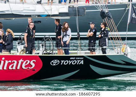 AUCKLAND, NEW ZEALAND - APRIL 11: The Duchess of Cambridge on the America�s Cup yacht in Auckland�s Viaduct Harbour as part of the Royal New Zealand tour on April 11, 2014 in Auckland, New Zealand. - stock photo