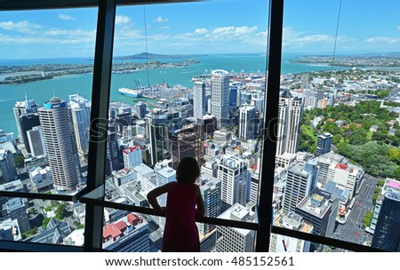 AUCKLAND, NEW ZEALAND - DECEMBER 12 2015: View from the Sky Tower - an observation and telecommunications tower located on the corner of Victoria and Federal Streets in the Auckland CBD, Auckland City