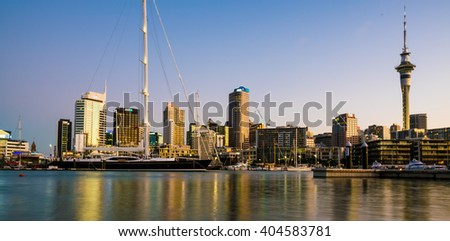 AUCKLAND, NEW ZEALAND - JANUARY 10 2016: Reflection of scyscaper in sea.Auckland,  New Zealand