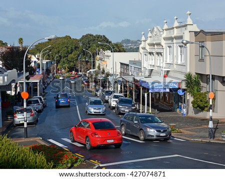 Auckland, New Zealand - May 21, 2016: Shops, Cafes & Main Street of Devonport.