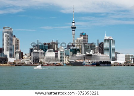 AUCKLAND, NEW ZEALAND - NOV 8 2015: Cruise ship Noordam in Ports of Auckland. In a typical year, more than 25 different ships visit New Zealand's coast mainly during the summer cruise season - stock photo